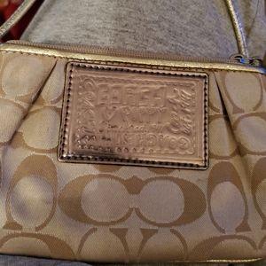 Nice coach wristlet gold beige inside 6×4